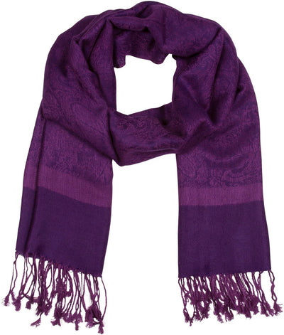 "group-Purple (Sakkas 70"" x 28"" Paisley Self-Design Pashmina Shawl / Wrap / Stole)"