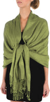"group-Olive Green (Sakkas 70"" x 28"" Paisley Self-Design Pashmina Shawl / Wrap / Stole)"