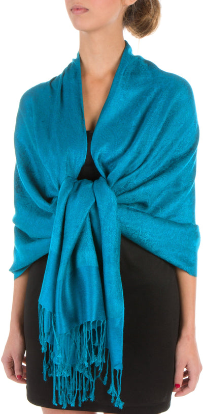 "group-Turquoise (Sakkas 70"" x 28"" Paisley Self-Design Pashmina Shawl / Wrap / Stole)"