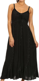 Sakkas Allie Stonewashed Embroidered Adjustable Spaghetti Straps Long Dress