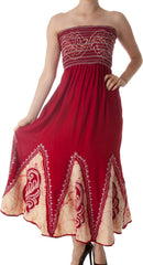 Sakkas Batik Print Embroidered Sleeveless Smocked Tube Top Long Dress