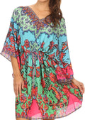 Sakkas Zander Drawstring Waist Dress / Cover Up With Rhinestone V-Neck