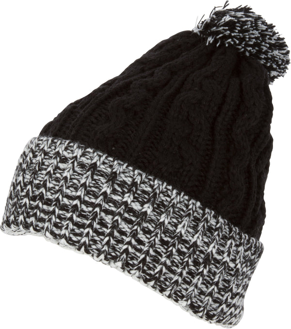 Sakkas Dante Warm Unisex Pom-pom Ribbed Knit Beanie Simple and Casual#color_YCCADK1516-Black