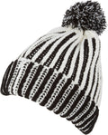 Sakkas Dante Warm Unisex Pom-pom Ribbed Knit Beanie Simple and Casual#color_YCCADK1517-Black