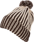 Sakkas Dante Warm Unisex Pom-pom Ribbed Knit Beanie Simple and Casual#color_YCCADK1517-Chocolate