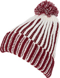 Sakkas Dante Warm Unisex Pom-pom Ribbed Knit Beanie Simple and Casual#color_YCCADK1517-Maroon