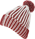 Sakkas Dante Warm Unisex Pom-pom Ribbed Knit Beanie Simple and Casual#color_YCCADK1517-Red