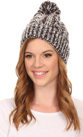 Sakkas Dante Warm Unisex Pom-pom Ribbed Knit Beanie Simple and Casual#color_YCCADK1519-Coffee