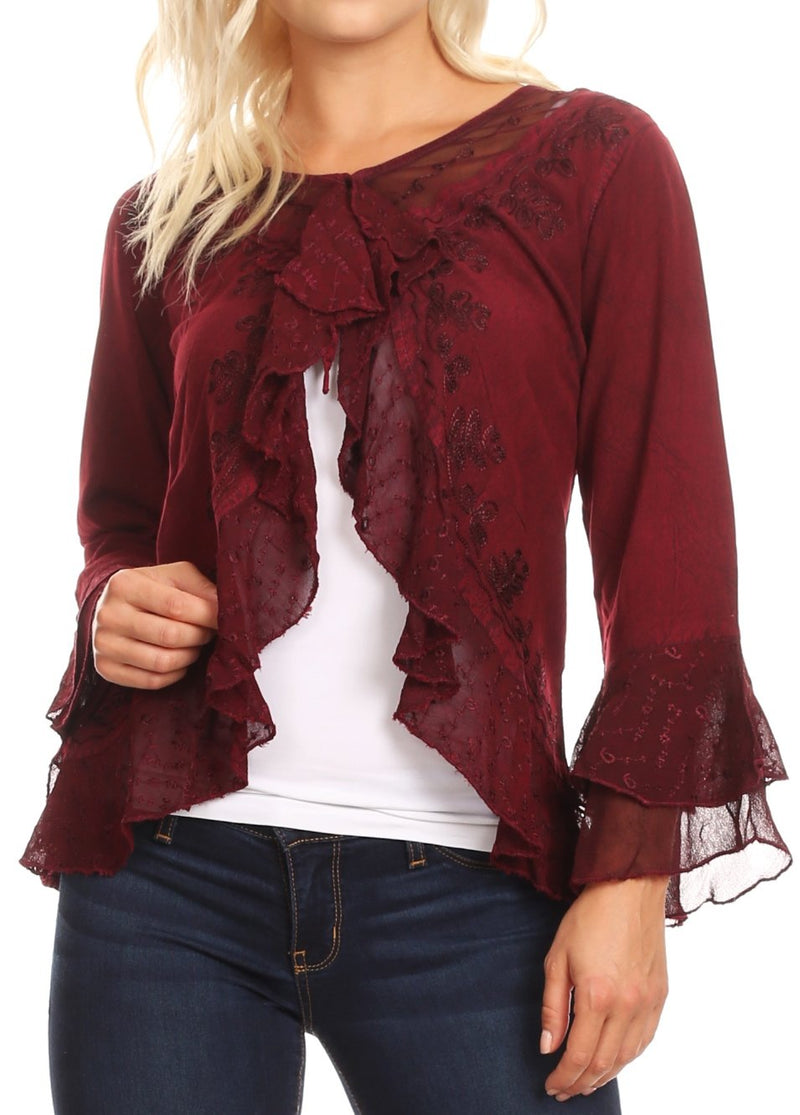Sakkas Jimena Womens Ruffle 3/4 Sleeve Open Front Cropped Cardigan Top Lace
