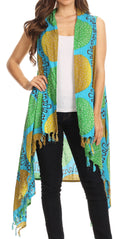 Sakkas Hatice Light Colorful Poncho Wrap Cardigan Top with African Ankara Print#color_Turq