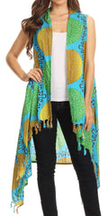 Sakkas Hatice Light Colorful Poncho Wrap Cardigan Top with African Ankara Print
