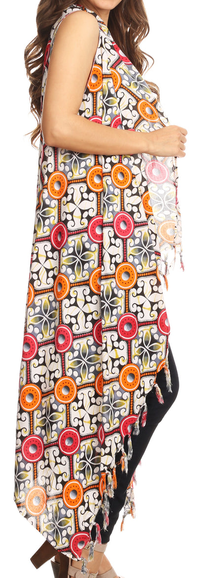 group-Gray (Sakkas Hatice Light Colorful Poncho Wrap Cardigan Top with African Ankara Print)