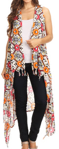 Sakkas Hatice Light Colorful Poncho Wrap Cardigan Top with African Ankara Print#color_Gray