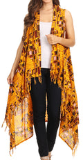Sakkas Hatice Light Colorful Poncho Wrap Cardigan Top with African Ankara Print#color_Mustard