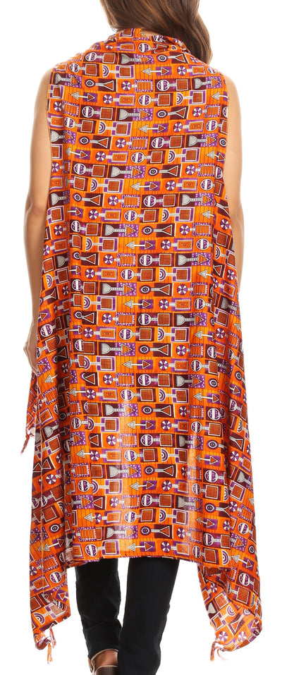 group-Orange (Sakkas Hatice Light Colorful Poncho Wrap Cardigan Top with African Ankara Print)