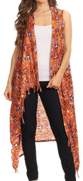 Sakkas Hatice Light Colorful Poncho Wrap Cardigan Top with African Ankara Print#color_Orange