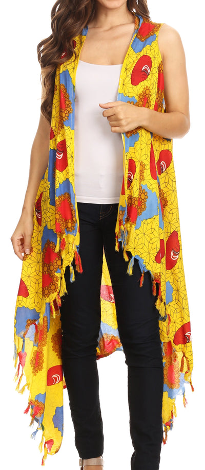 group-Yellow (Sakkas Hatice Light Colorful Poncho Wrap Cardigan Top with African Ankara Print)