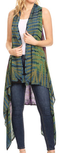 Sakkas Ivana Women's Oversized Draped Open Front Sleeveless Cardigan in Tie Dye#color_Green