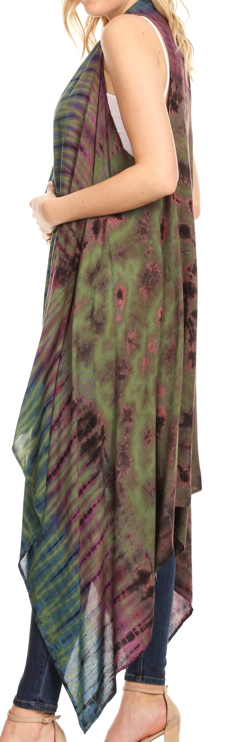 Sakkas Ivana Women's Oversized Draped Open Front Sleeveless Cardigan in Tie Dye