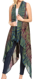 Sakkas Ivana Women's Oversized Draped Open Front Sleeveless Cardigan in Tie Dye#color_Olive