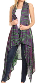 Sakkas Ivana Women's Oversized Draped Open Front Sleeveless Cardigan in Tie Dye#color_Purple