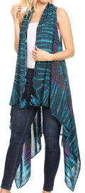 Sakkas Ivana Women's Oversized Draped Open Front Sleeveless Cardigan in Tie Dye#color_Teal