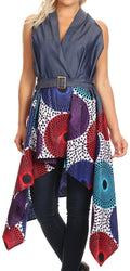 Sakkas Kaia  Women's Open Front  cardigan Top Asymetrical Ankara African Colorful#color_413-Multi