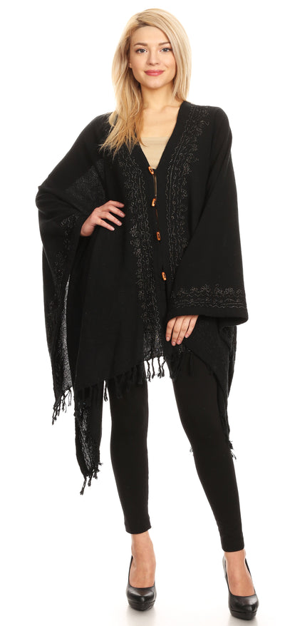 group-Black (Sakkas Anais Women's Caftan Poncho Top Casual Oversized Solid Comes w/Fringe Boho)