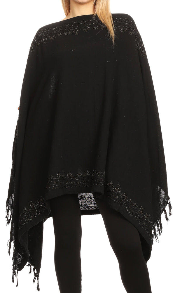 Sakkas Anais Women's Caftan Poncho Top Casual Oversized Solid Comes w/Fringe Boho#color_Black