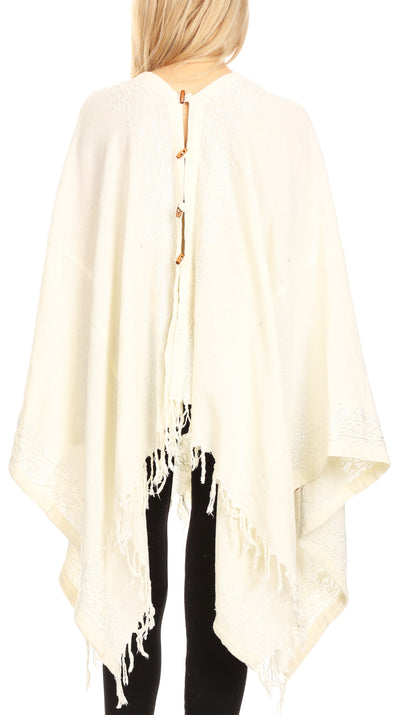 group-Cream (Sakkas Anais Women's Caftan Poncho Top Casual Oversized Solid Comes w/Fringe Boho)