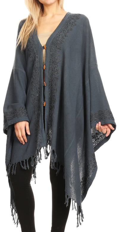 group-Grey (Sakkas Anais Women's Caftan Poncho Top Casual Oversized Solid Comes w/Fringe Boho)