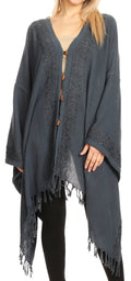 Sakkas Anais Women's Caftan Poncho Top Casual Oversized Solid Comes w/Fringe Boho#color_Grey
