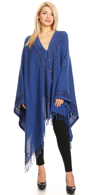 group-Navy (Sakkas Anais Women's Caftan Poncho Top Casual Oversized Solid Comes w/Fringe Boho)