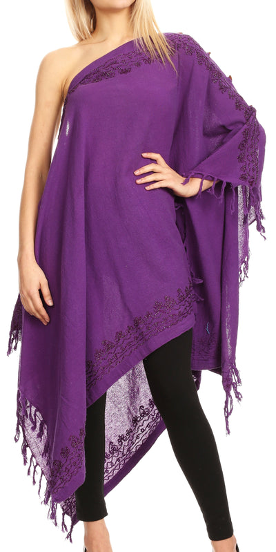 group-Purple (Sakkas Anais Women's Caftan Poncho Top Casual Oversized Solid Comes w/Fringe Boho)
