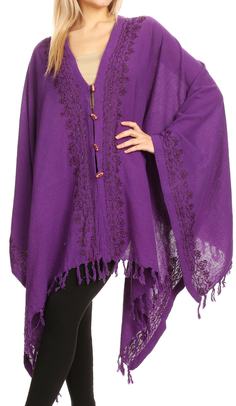 Sakkas Anais Women's Caftan Poncho Top Casual Oversized Solid Comes w/Fringe Boho