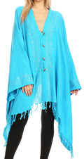Sakkas Anais Women's Caftan Poncho Top Casual Oversized Solid Comes w/Fringe Boho#color_Turquoise