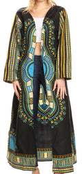 Sakkas Soledad Women's Long Sleeve Open Front Cardigan Dress Coat Dashiki African#color_Black