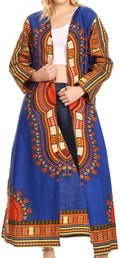 Sakkas Soledad Women's Long Sleeve Open Front Cardigan Dress Coat Dashiki African#color_Blue