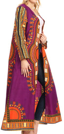 Sakkas Soledad Women's Long Sleeve Open Front Cardigan Dress Coat Dashiki African