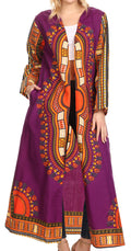 Sakkas Soledad Women's Long Sleeve Open Front Cardigan Dress Coat Dashiki African#color_Purple