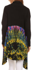 Sakkas Anjali Long Sleeve Draped Tie Dye Cardigan
