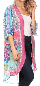 Sakkas Denora Women's Casual Draped Kimono Short Sleeve Boho Open Front Cardigan