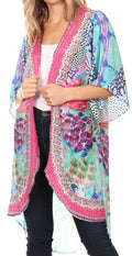 Sakkas Denora Women's Casual Draped Kimono Short Sleeve Boho Open Front Cardigan #color_SM224-Multi