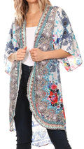 Sakkas Denora Women's Casual Draped Kimono Short Sleeve Boho Open Front Cardigan #color_WM236-Multi