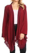 Sakkas Iris Womens Asymmetrical Cardigan Shrug Top with Embroidery and Fringe#color_Burgundy