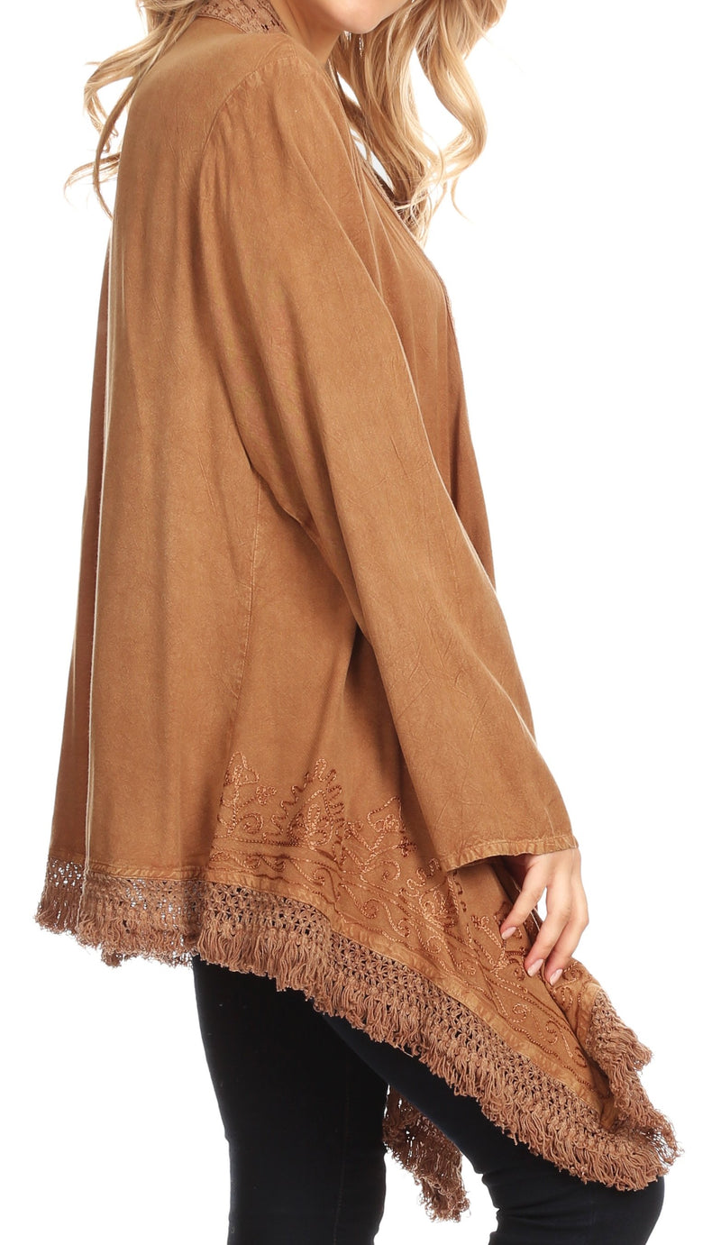 Sakkas Iris Womens Asymmetrical Cardigan Shrug Top with Embroidery and Fringe