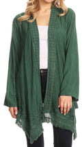 Sakkas Iris Womens Asymmetrical Cardigan Shrug Top with Embroidery and Fringe#color_Forest Green