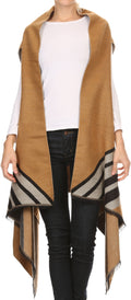 Sakkas Janeek Thick Warm Long Tapered Striped Multi Color Block Poncho Cape Wrap#color_Beige