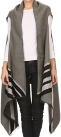 Sakkas Janeek Thick Warm Long Tapered Striped Multi Color Block Poncho Cape Wrap#color_Grey