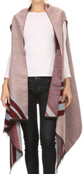 Sakkas Janeek Thick Warm Long Tapered Striped Multi Color Block Poncho Cape Wrap#color_Pink